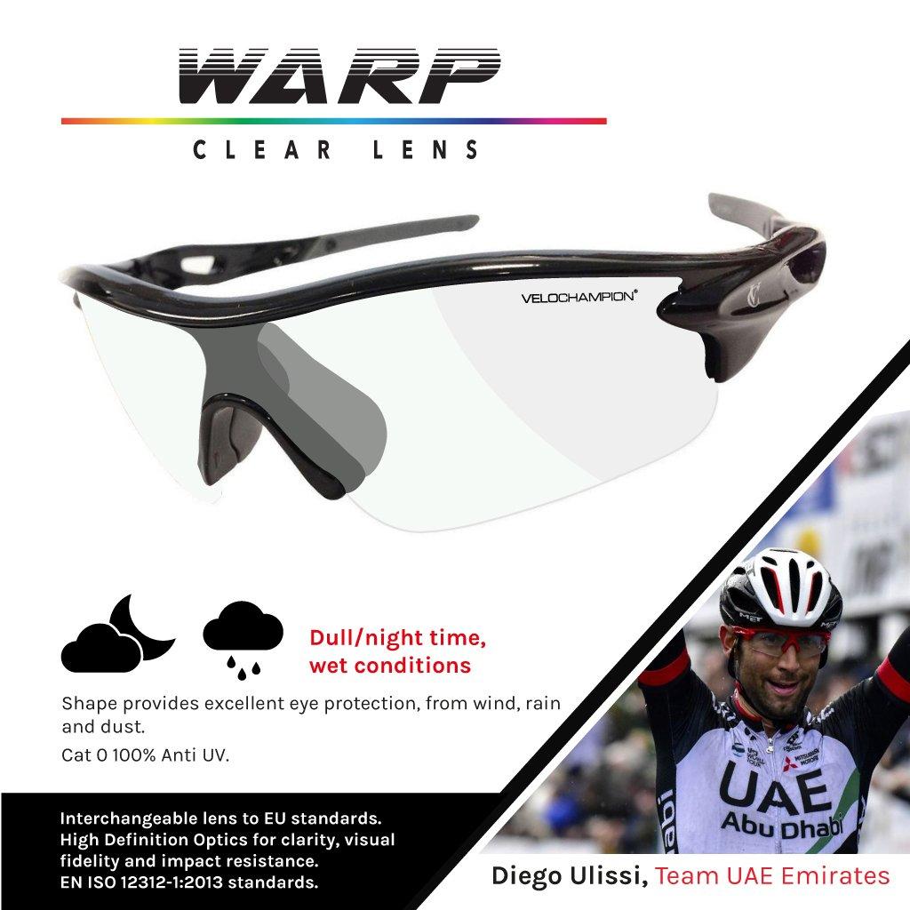 21144bdb6e VeloChampion Warp Cycling Sunglasses Running Shooting Sports Glasses  (Black)  Amazon.co.uk  Sports   Outdoors