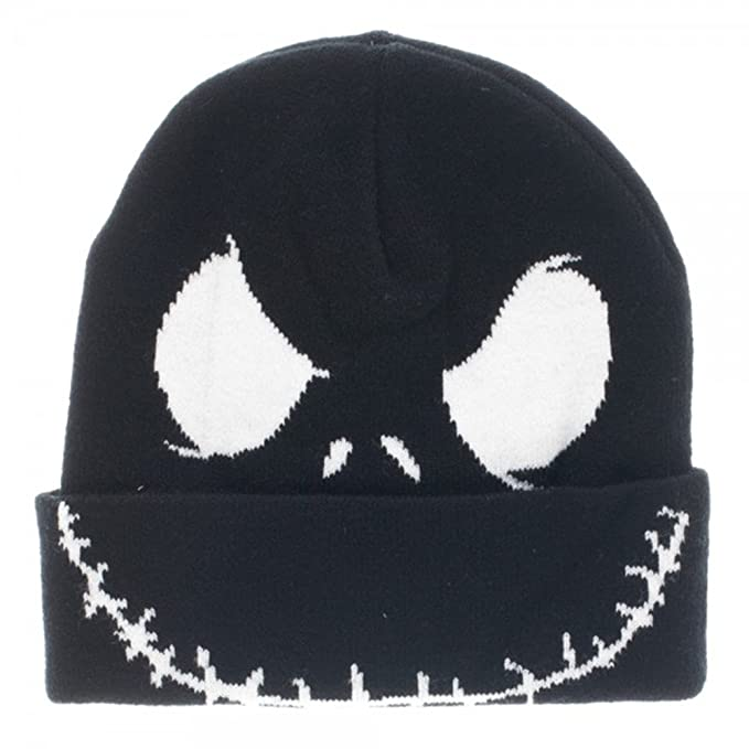 d22bf71b95a Nightmare Before Christmas Tim Burton s Jack Face Cuff Beanie (Black ...