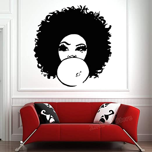 Amazon Com Jiesa Wall Art Stickers Quotes And Sayings African Woman For Girls Bedroom Beautiful Afro Girl Curly Hair Salon Tribal Home Decor S Home Kitchen