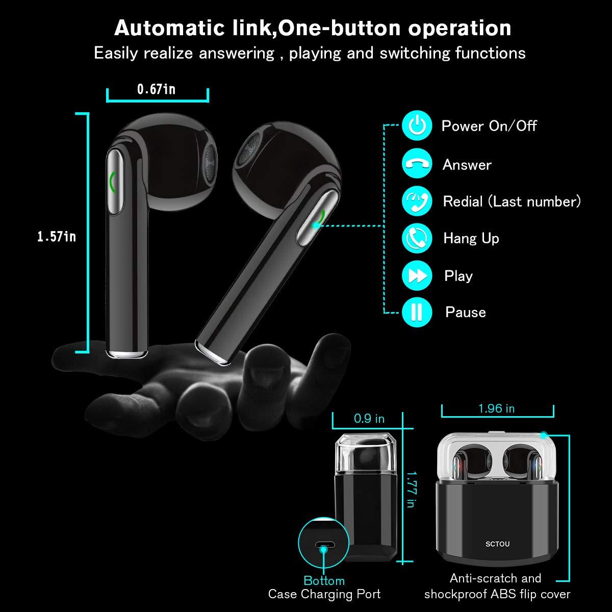 Wireless Earbuds, Bluetooth Headphones Stereo Wireless Earphones-001