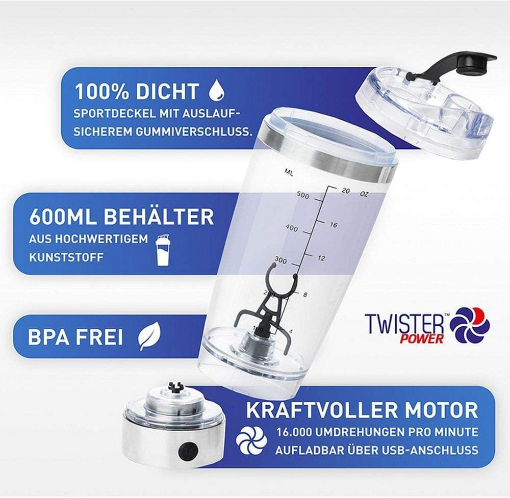 Twister-Power - Mezclador eléctrico portátil con cable de carga ...
