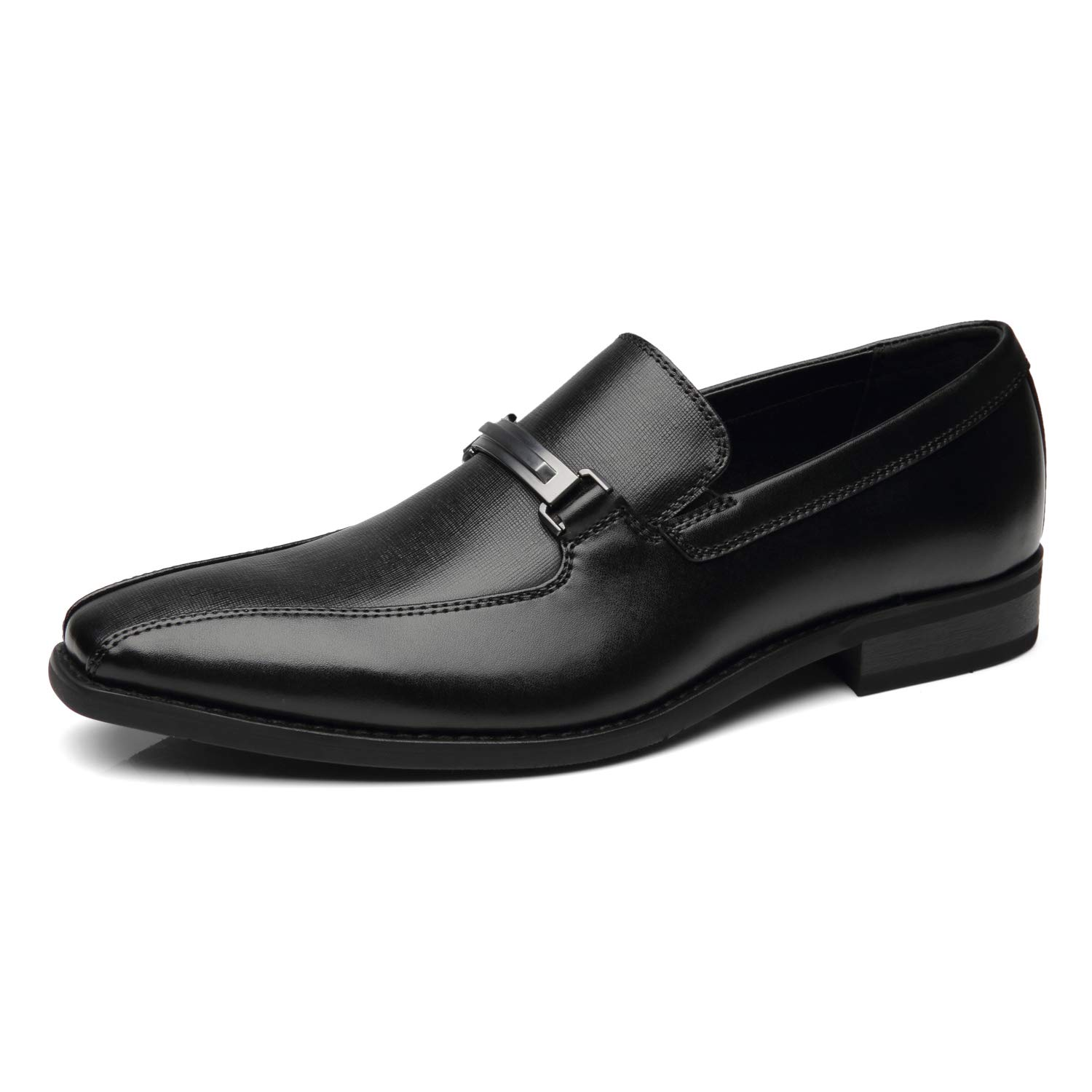 NXT NEW YORK Mens Slip On Buckle Loafers Leather Dress Shoes Bicycle Toe Comfortable Formal Business Shoes for Men