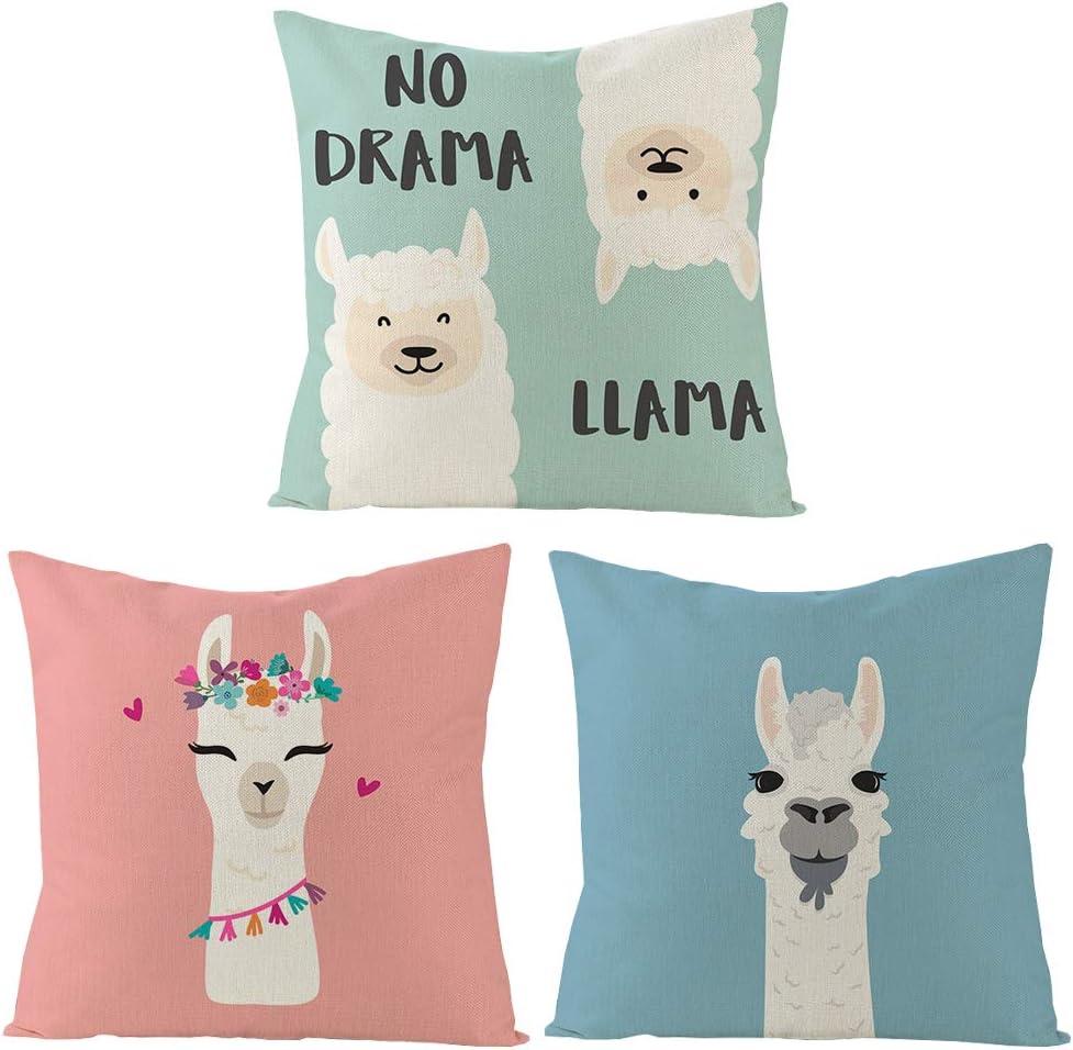 XIUYANG 3 Pack - 18 x 18 inch Llama Pattern Pillow case Decorative Cushion Cover Pillow Covers for Home Sofa Decor (Llama 03)