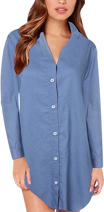 Style Dome Blusa Vaquera Camisa de Mujer Botones Elegantes de Manga Larga para Mujer Blusa de Mujer Túnica de Mujer Elegante Larga Grande Azul ...