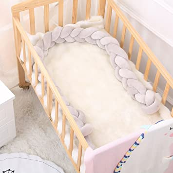 3M, White+Pink+Gray Baby Braided Crib Bumper,Cot Bumper Braid Infant Soft Pad Knot Plush Pillow Bedding Sheets Cushion Bedroom Decor