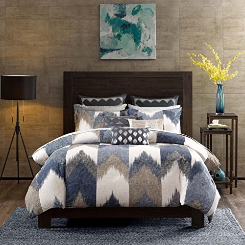 (Ink+Ivy Alpine Full/Queen Size Bed Comforter Set - Navy, Taupe, Ivory, Pieced Chevron - 3 Pieces Bedding Sets - 100% Cotton Bedroom Comforters)