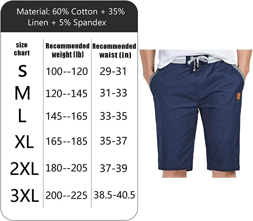 JustSun Mens Summers Cotton Casual Shorts Elastic Waist Pockets