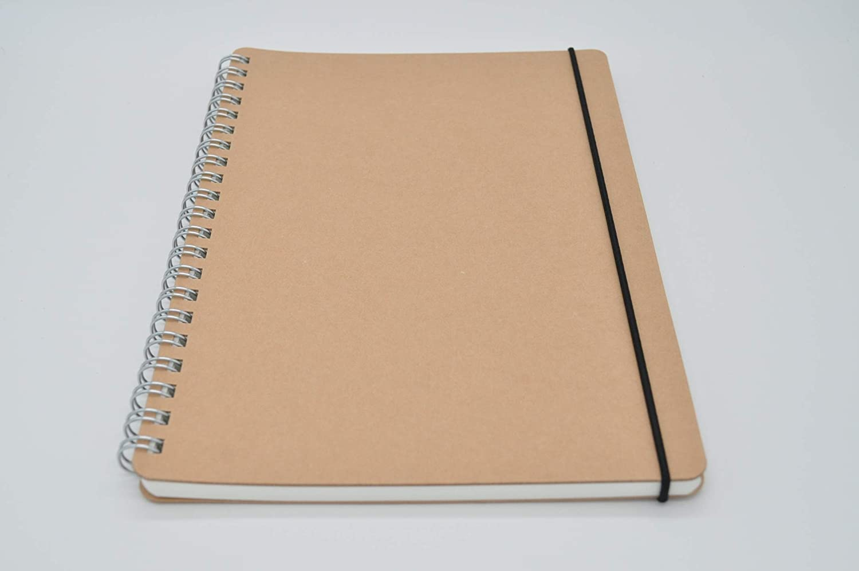 Muji Cuaderno de papel reciclado con doble espiral y cuadrícula de puntos – Cuaderno A5, 70 hojas, con goma elástica: Amazon.es: Oficina y papelería
