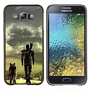 KLONGSHOP // Cubierta de piel con cierre a presión Shell trasero duro de goma Protección Caso - Apocalíptico perro - Samsung Galaxy E5 E500 //