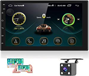 Double Din Android Car Stereo with GPS 7 InchTouch Screen Car Radio Bluetooth Supports Mirror Link for iOS/Android Phones WiFi Connect + Backup Camera