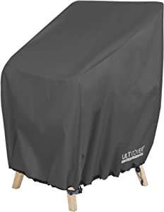 ULTCOVER Stackable Patio Chair Cover – Waterproof Outdoor Stack of Chairs Cover Fits Up to 26L x 34W x 45H inches, Black