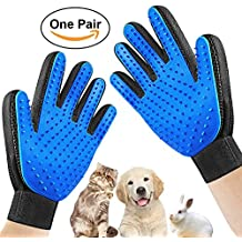 Lokinly Pet Grooming Glove - Pet Deshedding Glove Brush Cats & Dogs Efficient Pet Hair Remover Mitt Long & Short Fur Enhanced Five Fingers Blue (One Pair)