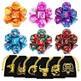 DND Dice Set, 42 Pieces Dungeons and Dragons Dice with Gold Patten Bags for Dungeon and Dragons MTG RPG DND D20 D12 D10 D8 D4