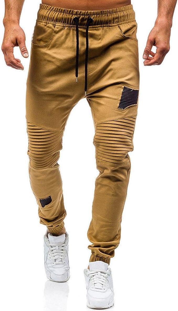 YanHoo Pantalones de chándal clásicos con Cordones para Hombres ...