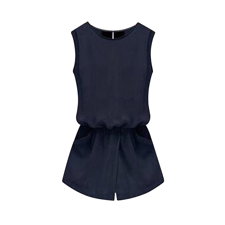 SUNNOW® Damen Jumpsuit ärmellos Playsuit Rundhals Ausschnitt Schlitz Rücken Casual Overall mit Taschen Shorts Sommer