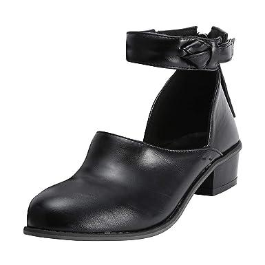 96ce73a08b448 LuckyGirls Mode Femmes Pointu Bottom Martin Bottines Classiques Chaussures  DéContractéEs Daim à Talons Hauts Vintage Zipper