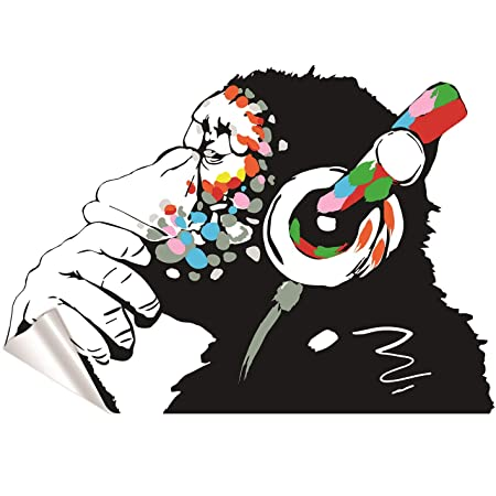 Banksy Vinyl Wall Decal Monkey With Headphones Chimp Listening To
