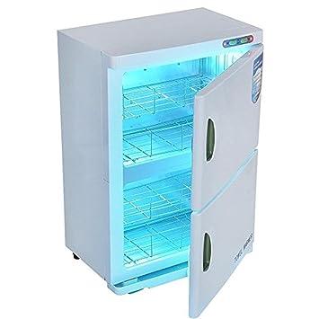 2 en 1 Esterilizador toalla 46L UV Caliente Toalla calentador Doble Gabinete UV Esterilizador Uña Salón Spa Belleza Facial Desinfectante Herramienta: ...
