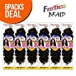 "FreeTress Synthetic Hair Crochet Braids GoGo Curl 12"" (6-Pack, 1B)"