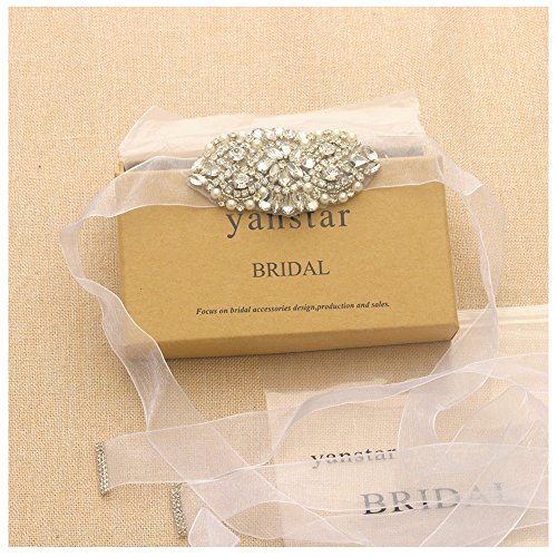 (White Sash Small Size Silver Bridal Belts Applique Crystal Wedding Beaded Sashes and Belts for Bridal Dress-3.7In1In)