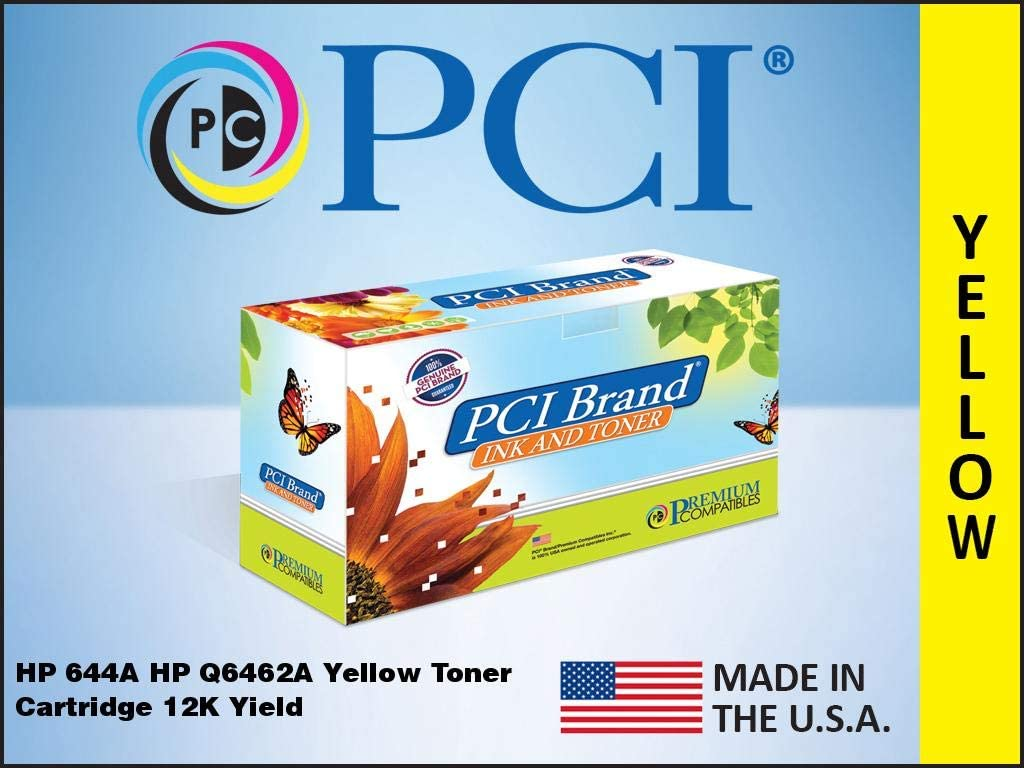 PCI Brand Remanufactured Toner Cartridge Replacement for HP 644A Q6462A Yellow Laserjet Toner Cartridge 12K Yield