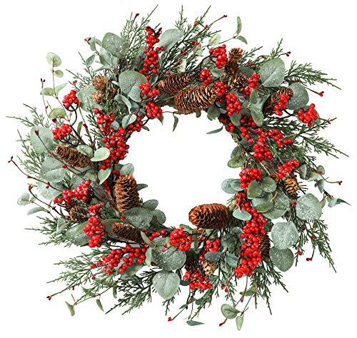 YNYLCHMX 20″ Artificial Christmas Wreath for Front Door, Door Wreath Flushed with Eucalyptus Leaves with Red Berry with Big Pine Cones, Home Decor for Indoor, Windows, Wall, Holiday, Decoration