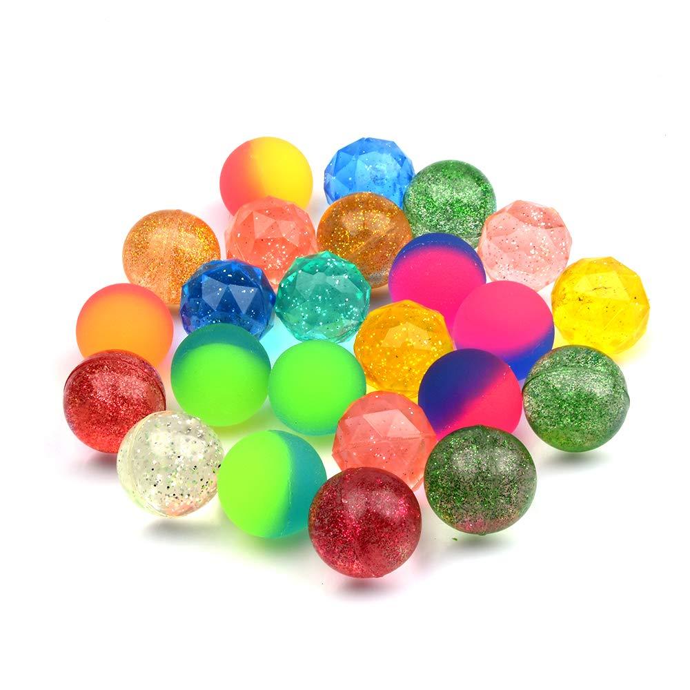 Onepine 24 Pi/èces 3 Styles Balles Rebondissantes pour Enfant Cadeau Danniversaire,Party Favor Balle Peut flotter sur leau 30mm