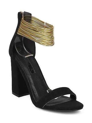 684dd1a149d Alrisco Women Open Toe Strappy Ankle Cuff Block Heel Sandal HE10 - Black  Faux Suede (