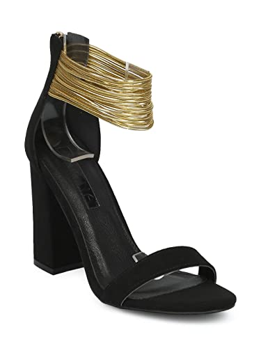08bfb0c04d Alrisco Women Open Toe Strappy Ankle Cuff Block Heel Sandal HE10 - Black Faux  Suede (