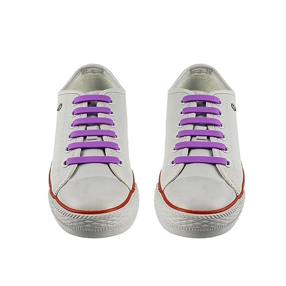 MeteorFlying 12pcs silicona de No atar los cordones para niños y adultos elástico cordones para zapatillas cordones impermeable Durable (Violado): ...