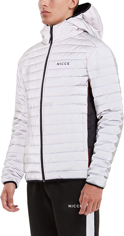 Mens Nicce Chromo Jacket in Grey Silver