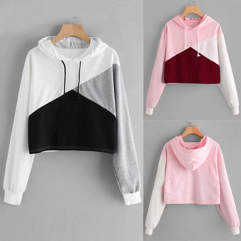 LET Damen Regenbogen Reißverschluss Hoodie Damen Nähen Reißverschluss gestreiften Pullover Sweatshirt Top Ad-black