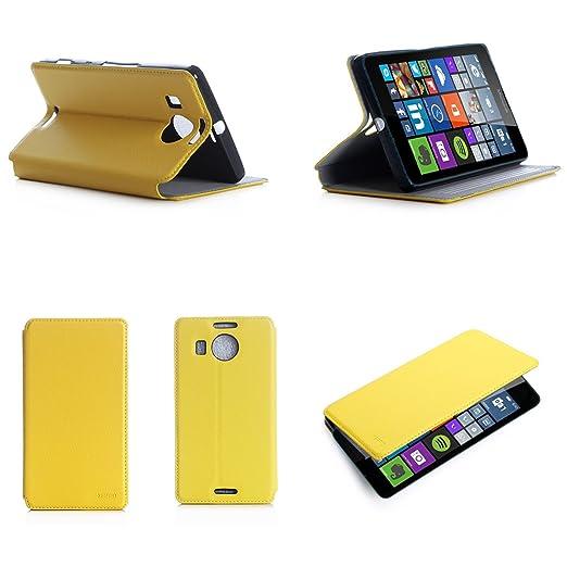 5 opinioni per Giallo Custodia Pelle Ultra Slim per Microsoft Lumia 950 XL 4G smartphone- Flip