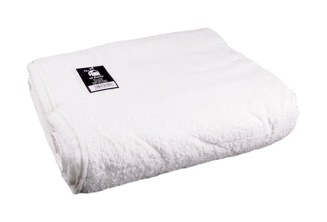 The House of Emily Super Jumbo 100% Cotton Bath Sheet Beach Towel 72'' x 80'' (White)