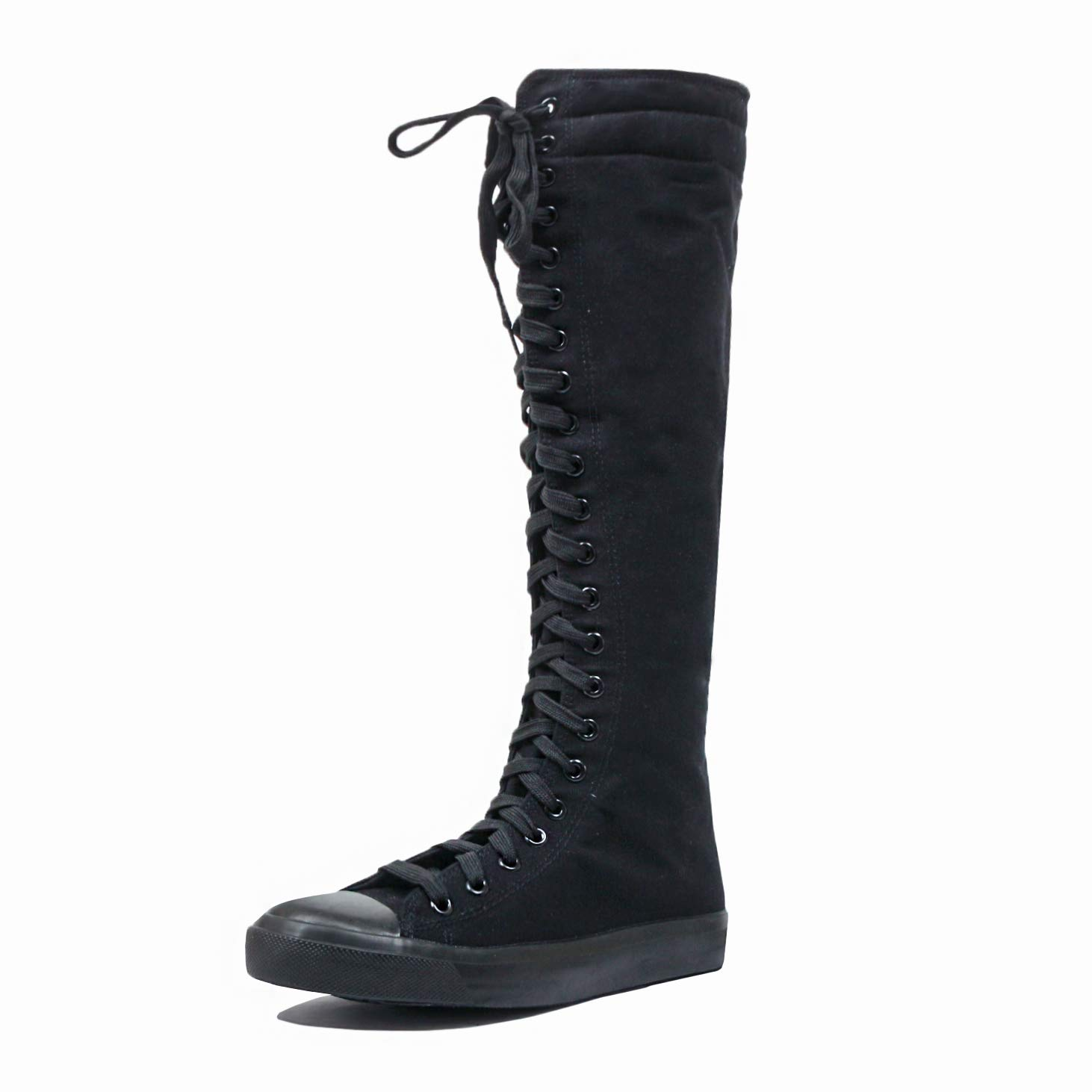Women's Tall Canvas Lace up Knee High Sneakers BK 9