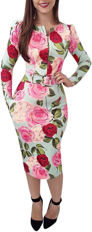 Damen Blumen Bleistiftkleid Partykleid Abendkleid Wickelkleid Cocktail Bodycon