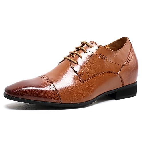 CHAMARIPA Zapatos Planos con Cordones Hombre, Color Marrón (45, Marrón)