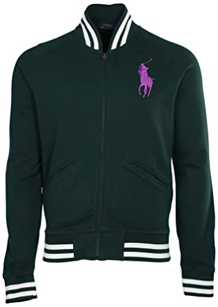 Polo Ralph Lauren Men Big Pony Fleece Baseball Jacket (S, College green)