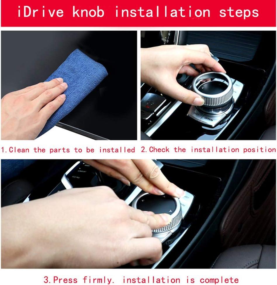 ABS Car iDrive Multimedia Knob Cover Trim Center Shift Knobs Multi-Media Button Cover Silvery Red for BMW Silvery New 5 7 Series 6GT X3 X4 G01 G02 G30 G32 G11 G12