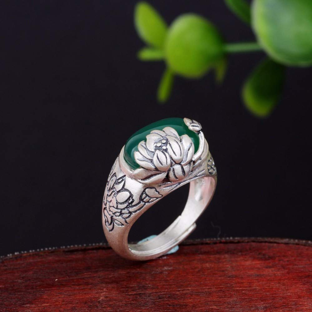 Vintage S925 Silver Ring Womens Simple Opening Zen Lotus Green Chalcedony Fashion Creative Gift Personality Trend