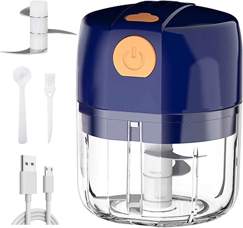 Electric Mini Garlic Chopper, Portable Garlic Mincer Grinder Food Slicer Garlic Chopper for Fruit Meat Onion Pepper Vegetable Nuts Small Food Processor (Blue, 45W, 250ML)