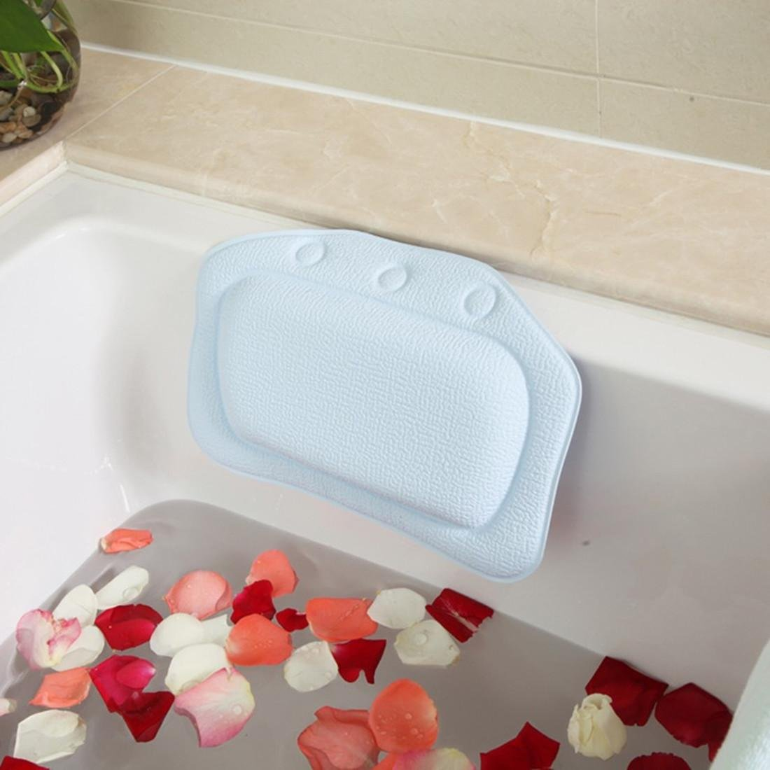 Bath pillow bathtub pillow bath backrest headrest suction cup PVC waterproof amc spa bath Sky blue Bathroom supplies 21*31cm. by deefullshop (Image #2)
