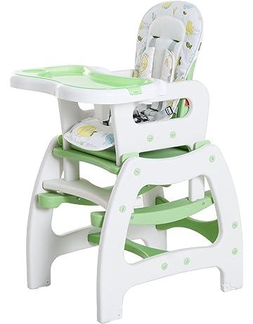 HOMCOM Trona para Bebé 3 en 1 Convertible en Silla Mercedora y Silla+Mesa con