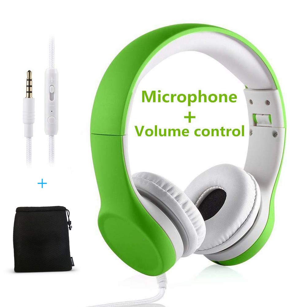 Kids Headphones Volume Limited ,Yusonic Over The Ear Foldable Headphones with Share Connector for Boys Girls Children (Green 2)