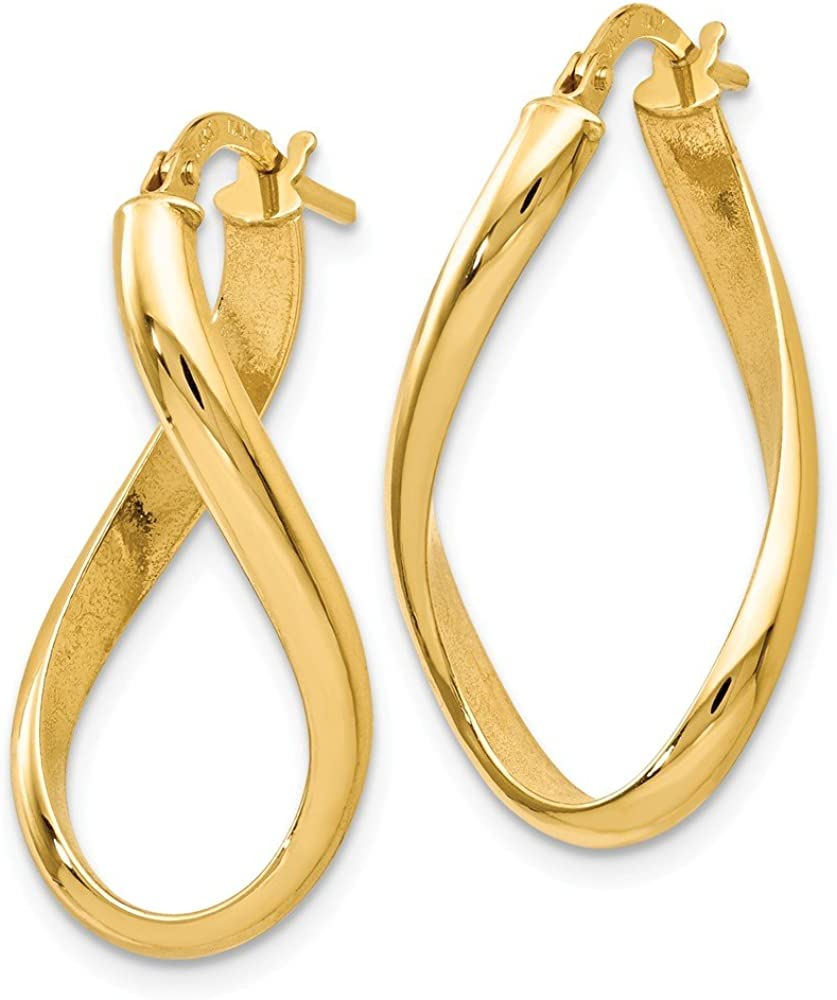 Leslies Real 14kt Yellow Gold Polished Oval Twisted Hoop Earrings