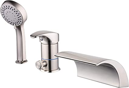 Roman Tub Faucet Brushed Nickel Three Holes Single Handle With Waterfall Tub Filler With Hand Shower High Flow