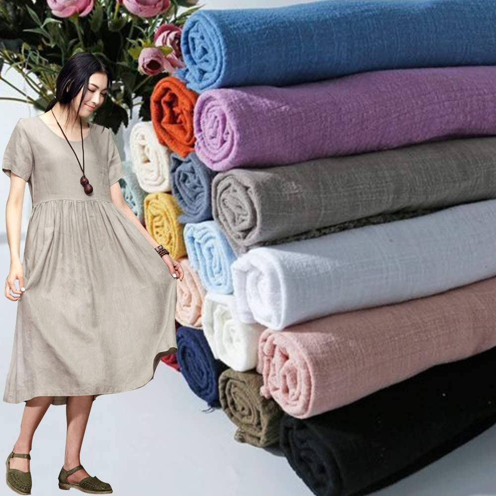 Summer Linen Cotton Fabric Organic Material Pure Natural Flax Eco for DIY Shirt Scarf Curtain Dress Home Cloth 130X100Cm