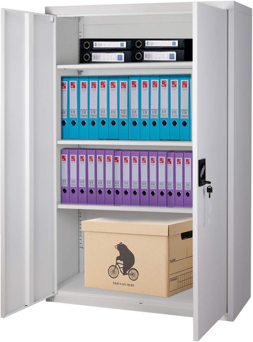 Warmiehomy Office Metal Filing Cabinet Double Door Storage Cupboard 3 Floor With Lock,2 Shelves
