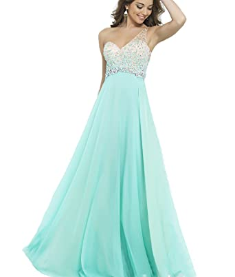 Club Queen Sexy One Shoulder Beaded Cheap Mint Chiffon Long Prom Dresses