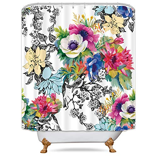 - Riyidecor Flower Blossoming Wildflowers Shower Curtain Panel Weighted Hem Floral Birds Leaves Branches Watercolor Decor Collection Fabric Set Polyester Waterproof 72x72 Inch Free Plastic Hooks 12-Pack